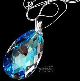 Kryształy Wisiorek+Łańcuszek Blue Aurora 50 mm