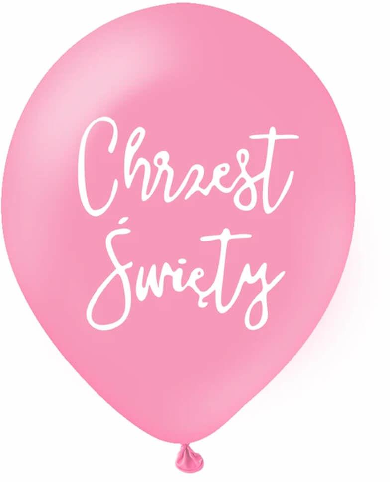 Balony lateksowe z napisem Chrzest Święty - różowe - 30 cm - 5 szt.