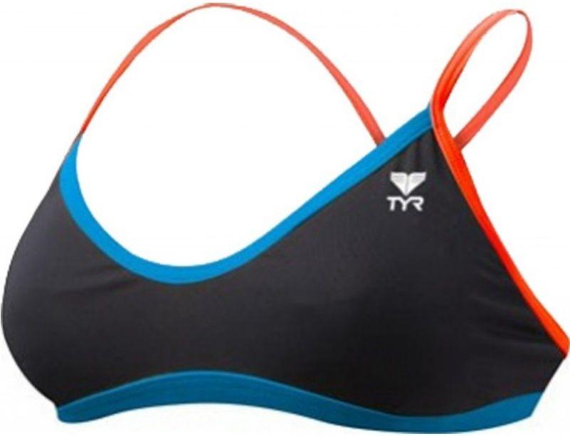 Tyr solid brites crosscutfit bikini top black/blue/coral 30
