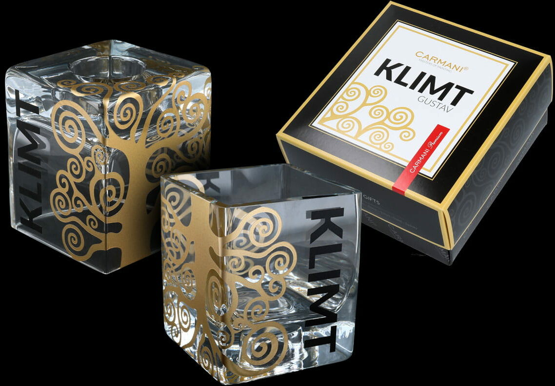 Wazon-Świecznik szklany mały złocony - G. Klimt. The Tree of Life (CARMANI)