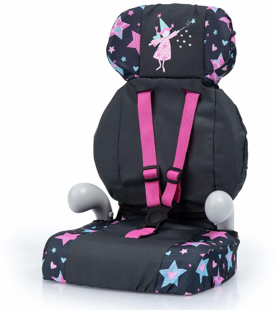 Bayer Design 67506AA Deluxe fotelik samochodowy, akcesoria dla lalek, zabawka dla chłopców i dziewcząt, z paskiem, czarny, gwiazdy z wróżką
