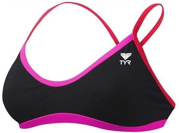 Tyr solid brites crosscutfit bikini top black/pink/red 30