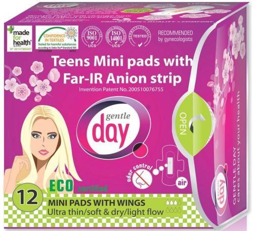 Podpaski higieniczne mini z paskiem anionowym (TEENS) 12 SZT. Gentle Day