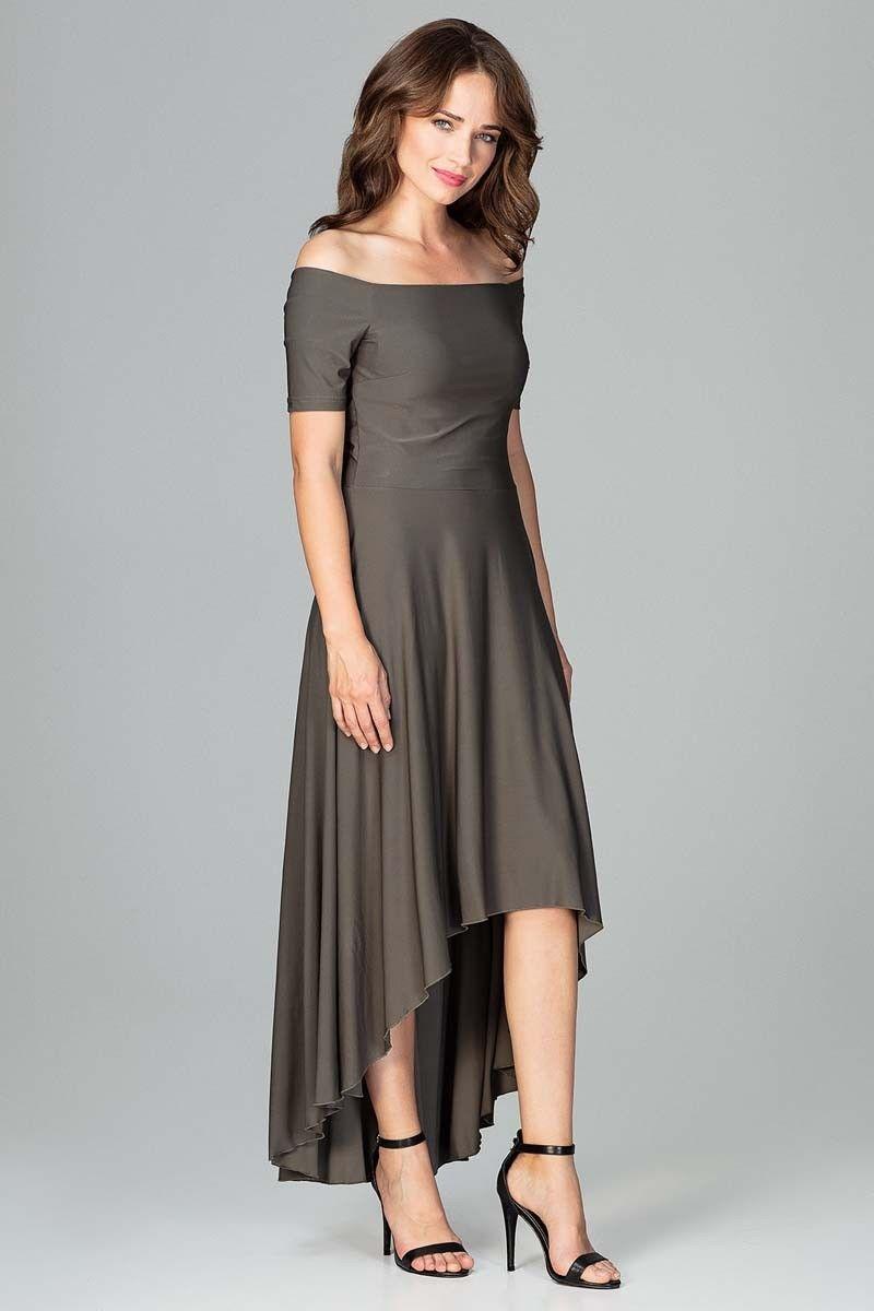 Oliwkowa Długa Asymetryczna Sukienka z Odkrytymi Ramionami