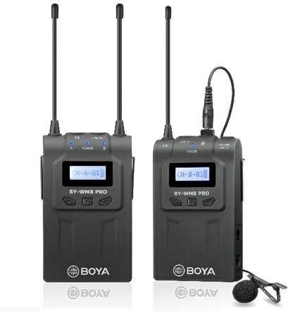 Boya BY-WM8 PRO-K1 - zestaw mikrofon bezprzewodowy lavalier, odbiornik Boya BY-WM8 PRO K1
