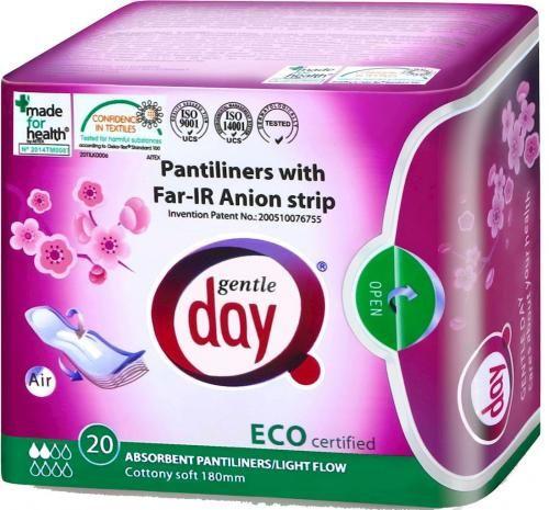 Wkładki higieniczne z paskiem anionowym i warstwą wchłaniającą wilgoć 20 szt Gentle Day