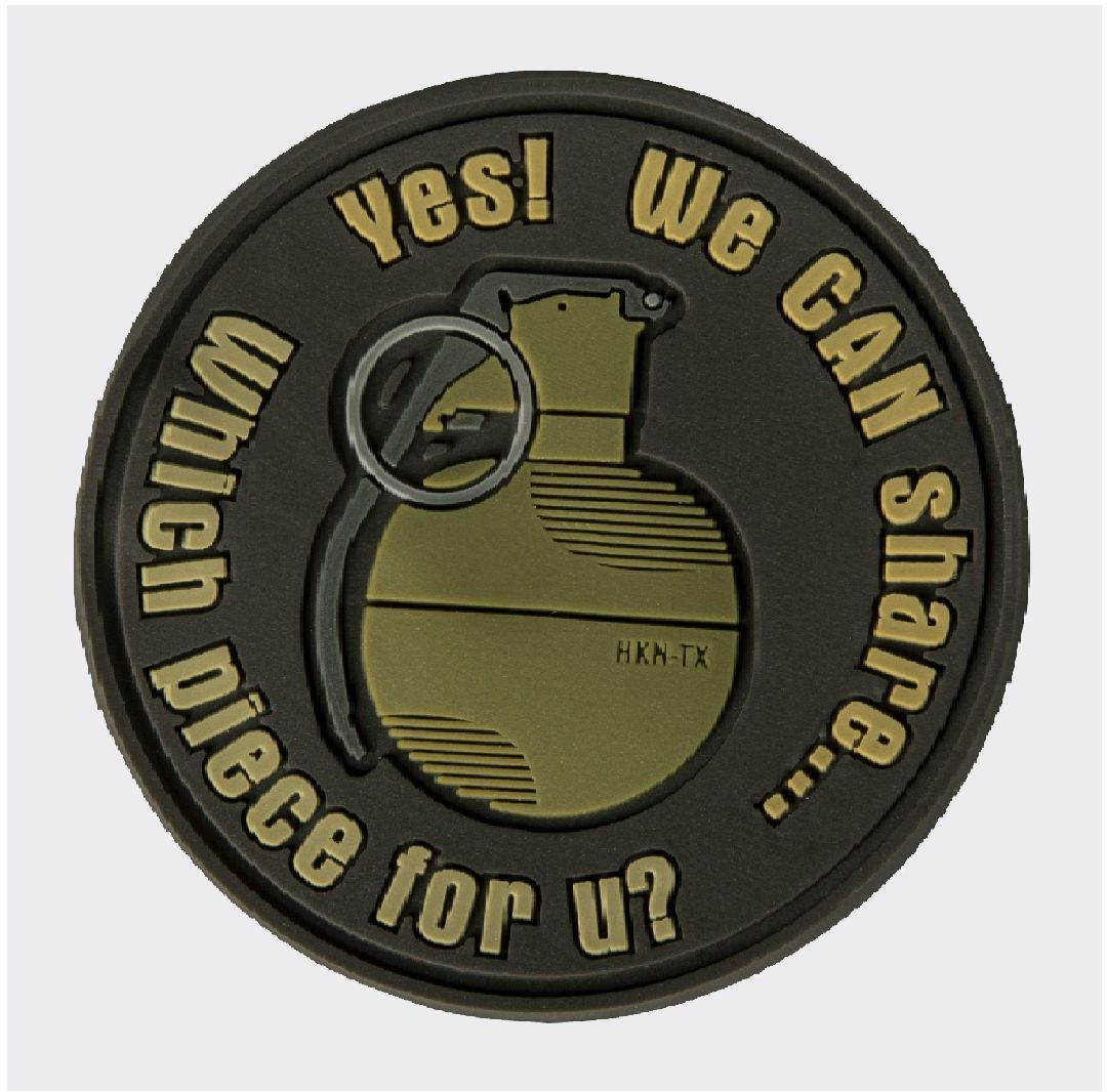 """Emblemat Helikon Granat """"WE CAN SHARE"""" PVC Brązowy"""