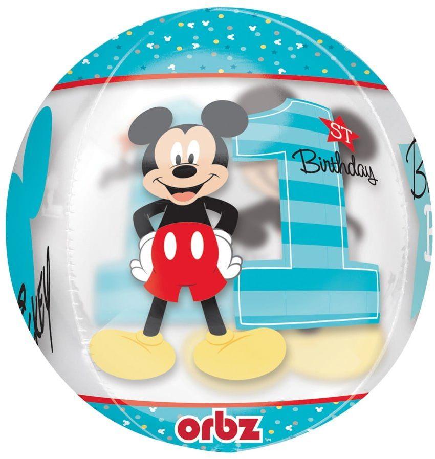 Balon foliowy kula Myszka Mickey na roczek - 40 cm - 1 szt.