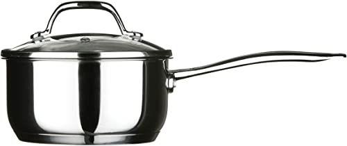 Premier Housewares Tenzo garnek ze stali nierdzewnej polerowany na wysoki połysk ze szklaną pokrywką i dnem kapsułkowym, 16 cm, 0,6 mm