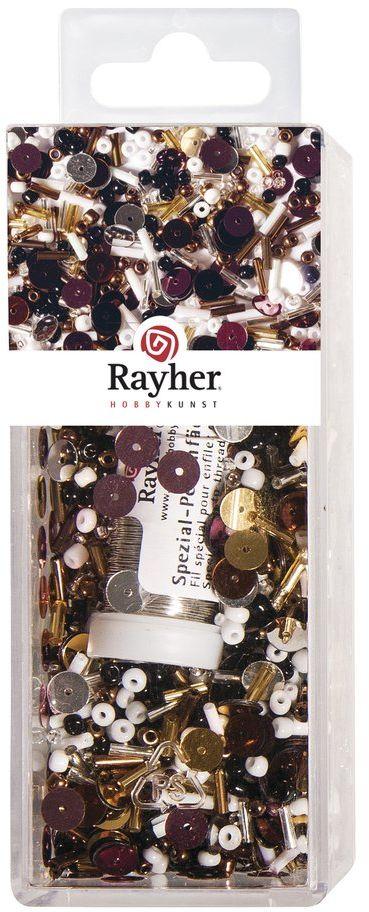 Rayher 14759000 miks cekinów/szklanych koralików, 90 g i 50 m drutu, średnica 0,3 mm, koraliki do majsterkowania, Rocailles, cekiny, flamastry szklane, drut nawlekany