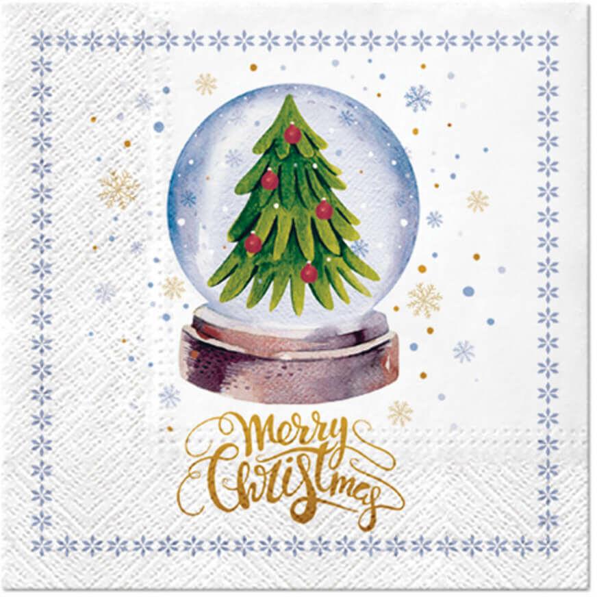 Serwetki bożonarodzeniowe Choinka w magicznej kuli - 33 cm - 20 szt.