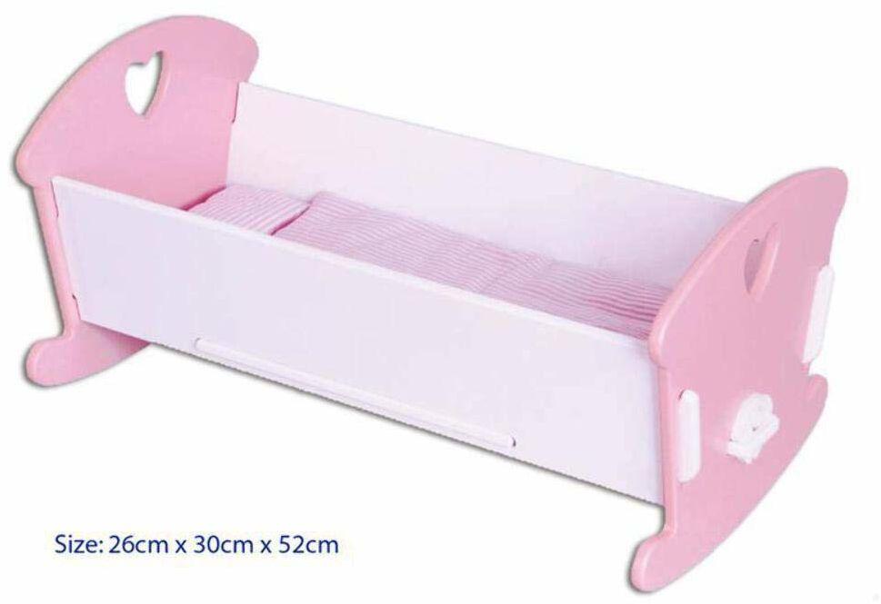 Kołyska dla lalek z drewna różowa 53x30x26 cm.