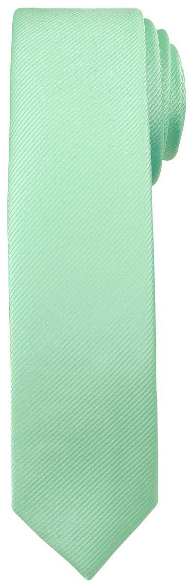 Jednokolorowy Krawat Męski, Śledź - 5 cm - Angelo di Monti, Jasnozielony KRADM1409