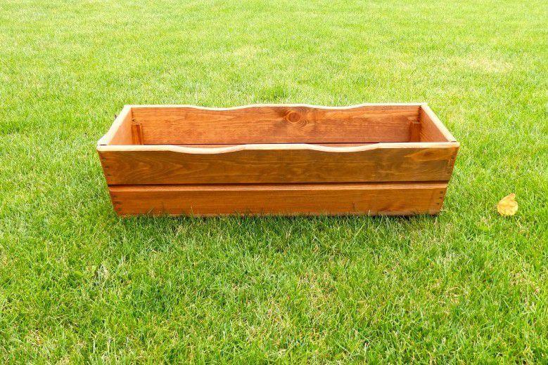 Kwietnik donica ozdobny drewniany 64 cm brązowy