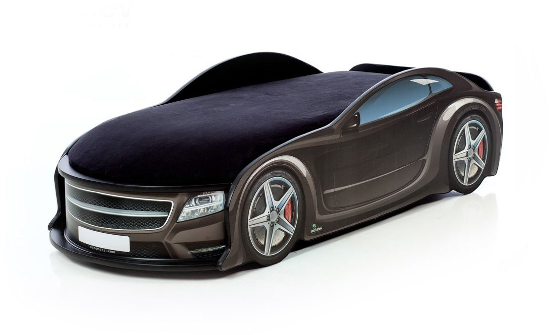 Łóżko UNO STAR 183X76 czarne samochód