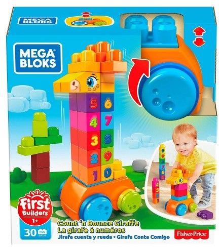 Mega Bloks Żyrafka z klockami Licz i jedź Zabawka z klockami dla dzieci GFG19