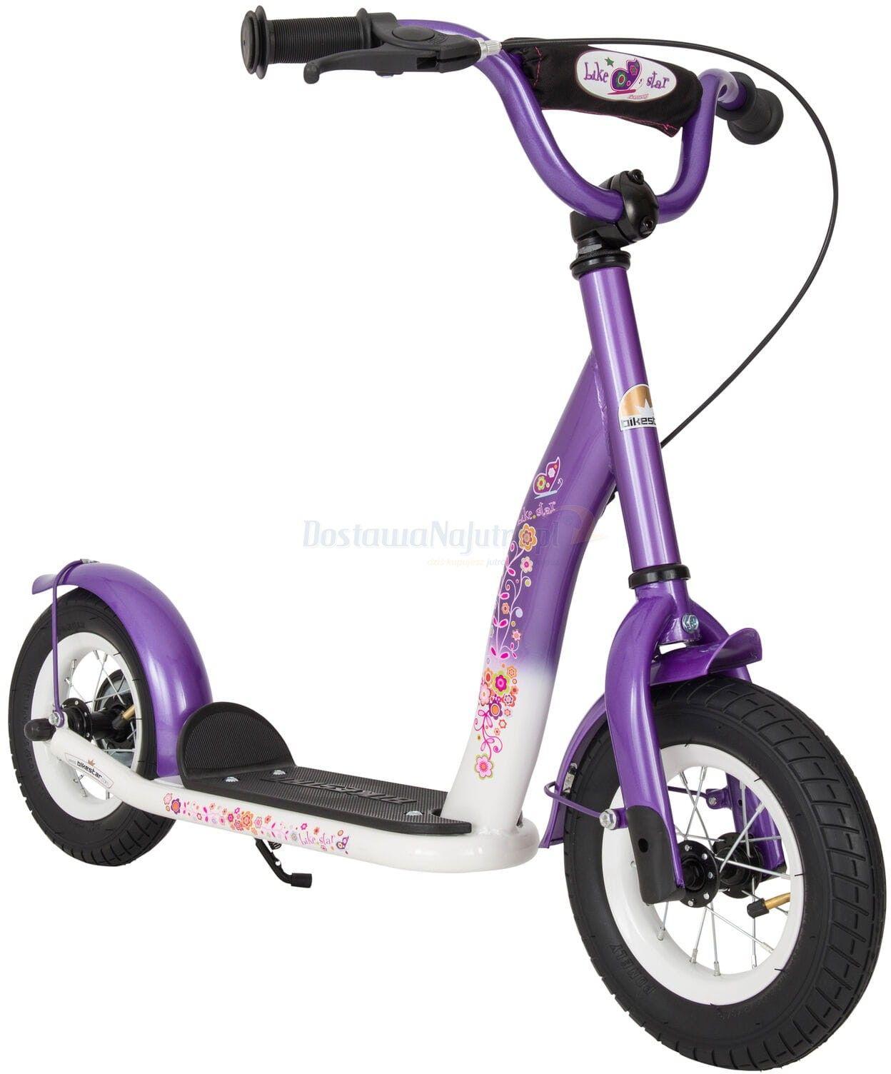 """Hulajnoga dla dzieci pompowane koła 10"""" BikeStar kolor liliowo-biały"""