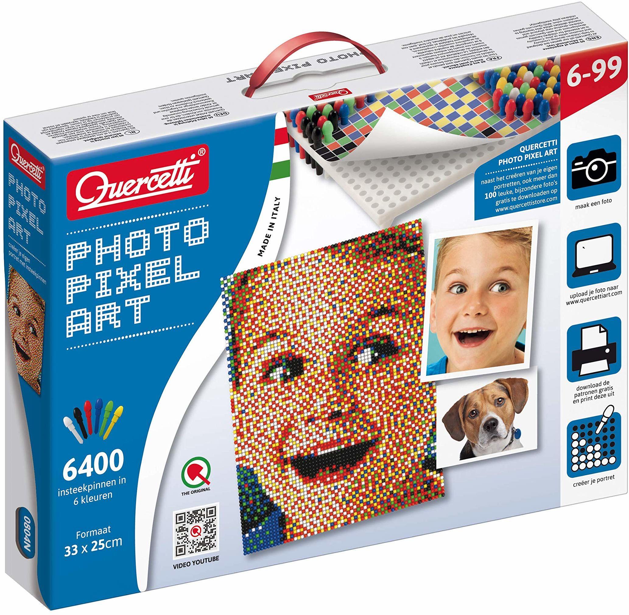 Quercetti 00804 - Pixel Art Photo mała gra wtykowa, wielokolorowa