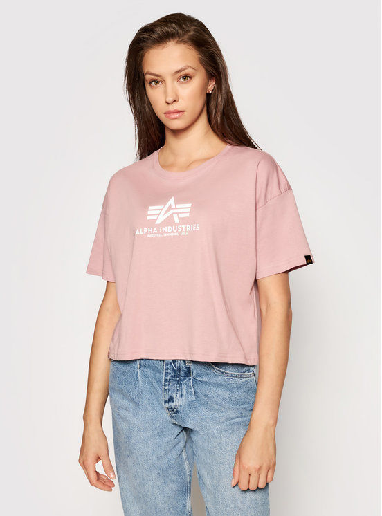 Alpha Industries T-Shirt Basic T Cos 116050 Różowy Oversize