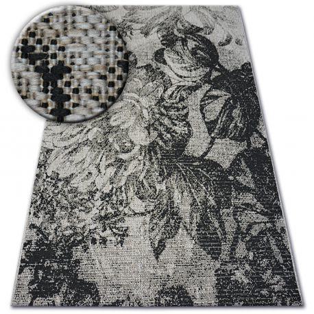 DYWAN SZNURKOWY SIZAL FLOORLUX 20491 KWIATY srebrny / czarny 60x110 cm