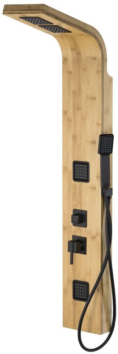 Corsan Bao panel natryskowy z mieszaczem czarny drewno bambusowe B-022MBC