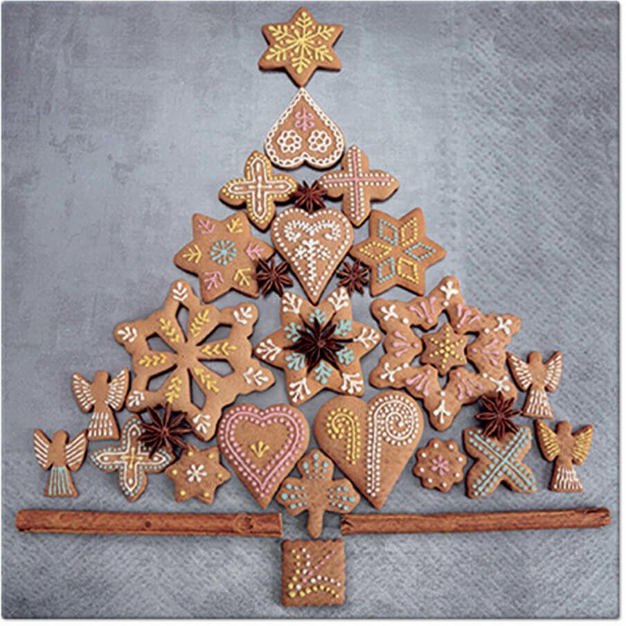 Serwetki bożonarodzeniowe Pierniczkowa choinka - 33 cm - 20 szt.