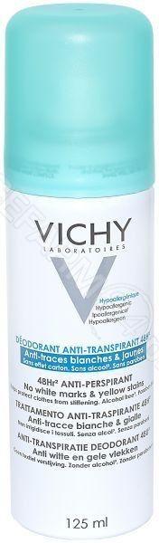 Vichy Deodorant antyprespirant w sprayu przeciwko białym i żółtym śladom 125 ml + do każdego zamówienia upominek.