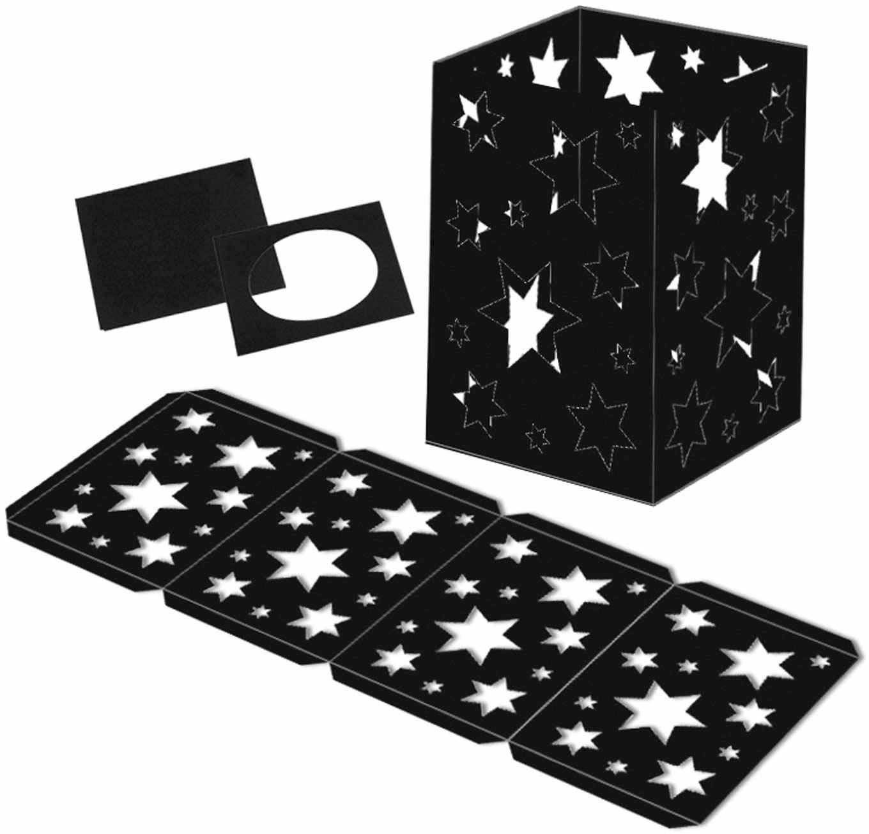 Ursus 2330090 - latarenka, czarna gwiazda, 25 surowych pierścieni do latarni oraz pokrywa i podłoga, z kartonu fotograficznego 300 g/m2, ok. 14 x 14 x 20 cm, idealna do następnej pracy latarni
