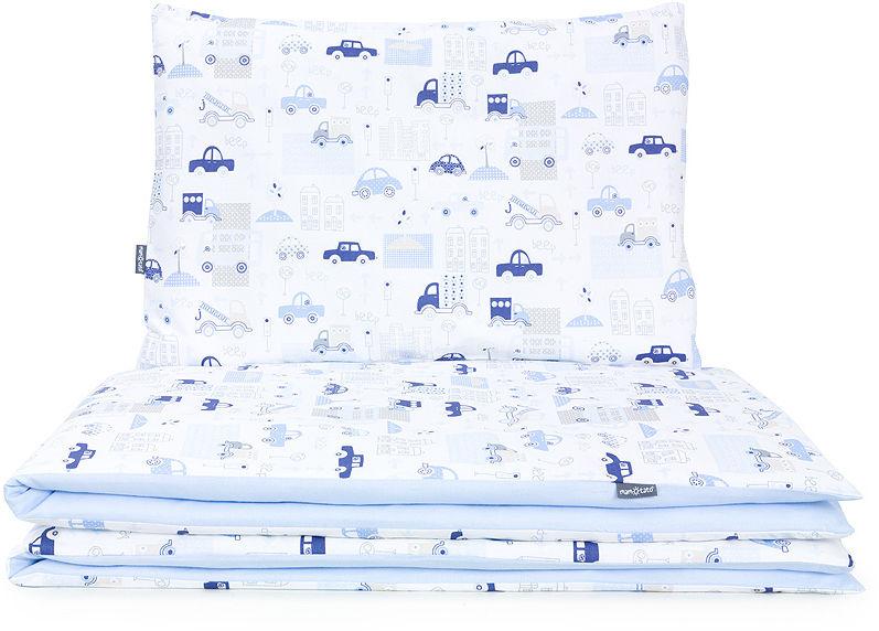 MAMO-TATO 2-el dwustronna pościel dla niemowląt 90x120 Autka niebieskie / koordynat błękit
