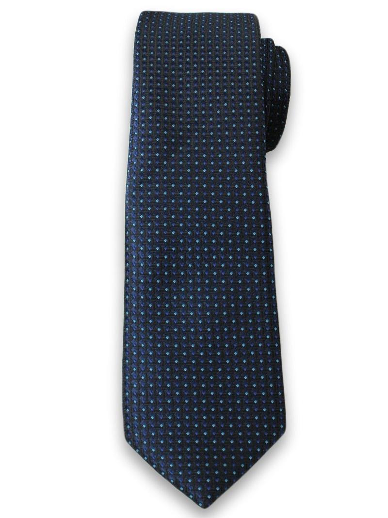 Granatowy Krawat w Drobny Wzór - 6 cm - Angelo di Monti KRADM1267