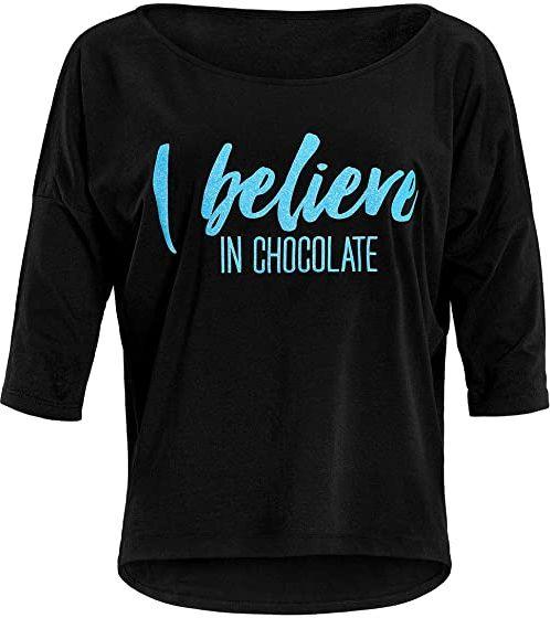"""Winshape Damska ultra lekka koszulka z rękawami 3/4 MCS001 z neonowym niebieskim nadrukiem""""I believe in chocolate"""" z brokatowym nadrukiem, Winshape Dance, fitness, czas wolny, sport, joga"""