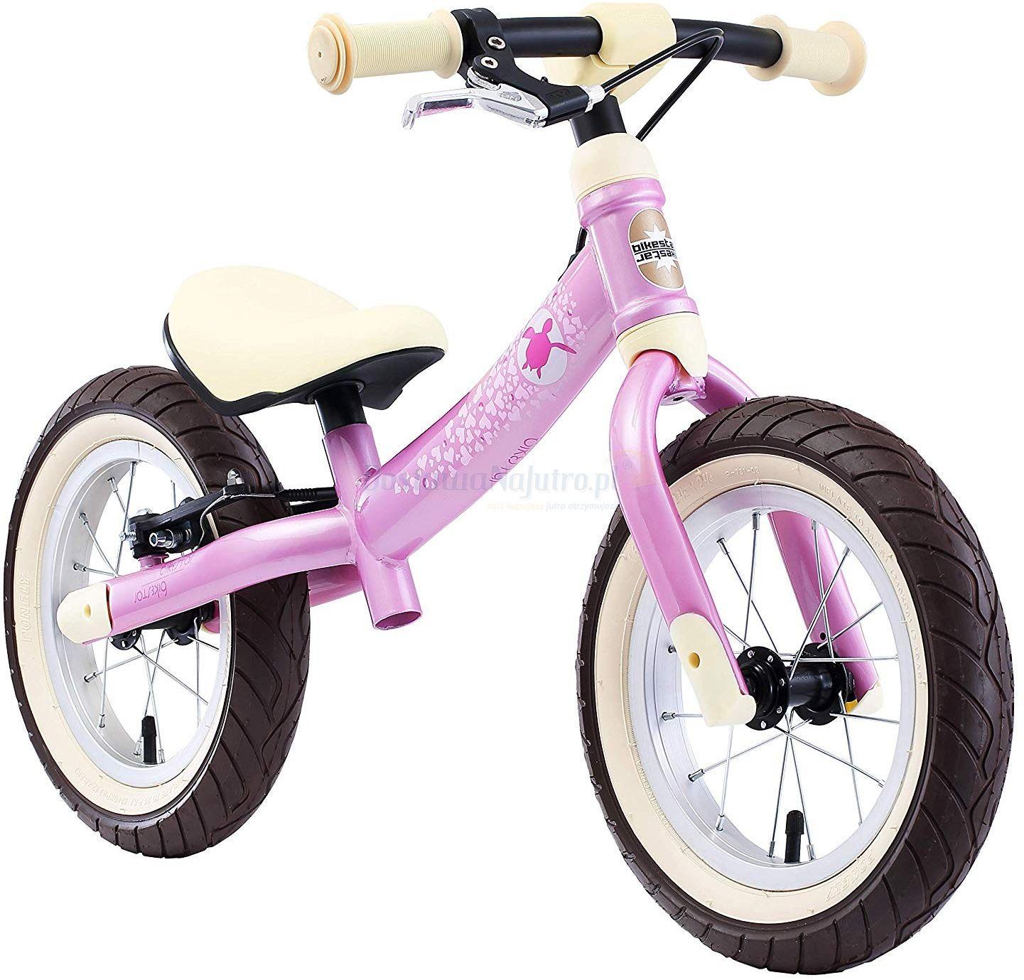 """Rowerek biegowy 12"""" BIKESTAR obracana rama 2w1 hamulec różowy"""