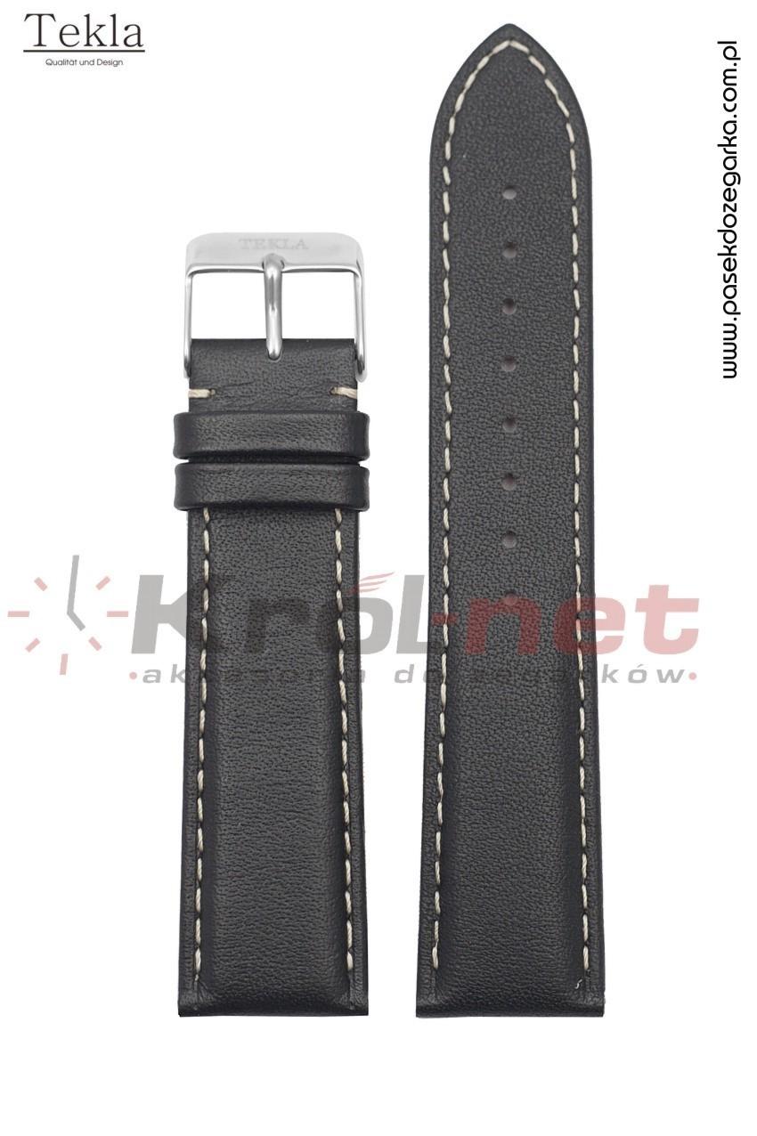 Pasek Tekla TK109/B/24XL - czarny, gładki, jasne nici