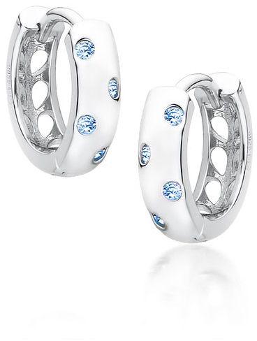Eleganckie rodowane srebrne kolczyki kółka kółeczka błękitne cyrkonie srebro 925 Z1755E_AQ