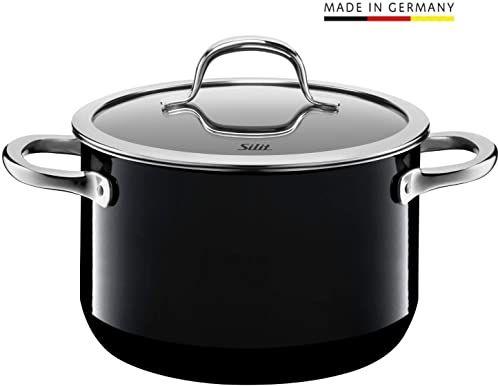 Silit Passion Black garnek do gotowania i mięsa, wysoki, 20 cm, szklana pokrywka, 3,7 l, ceramika funkcyjna Silargan, indukcja garnka, czarny