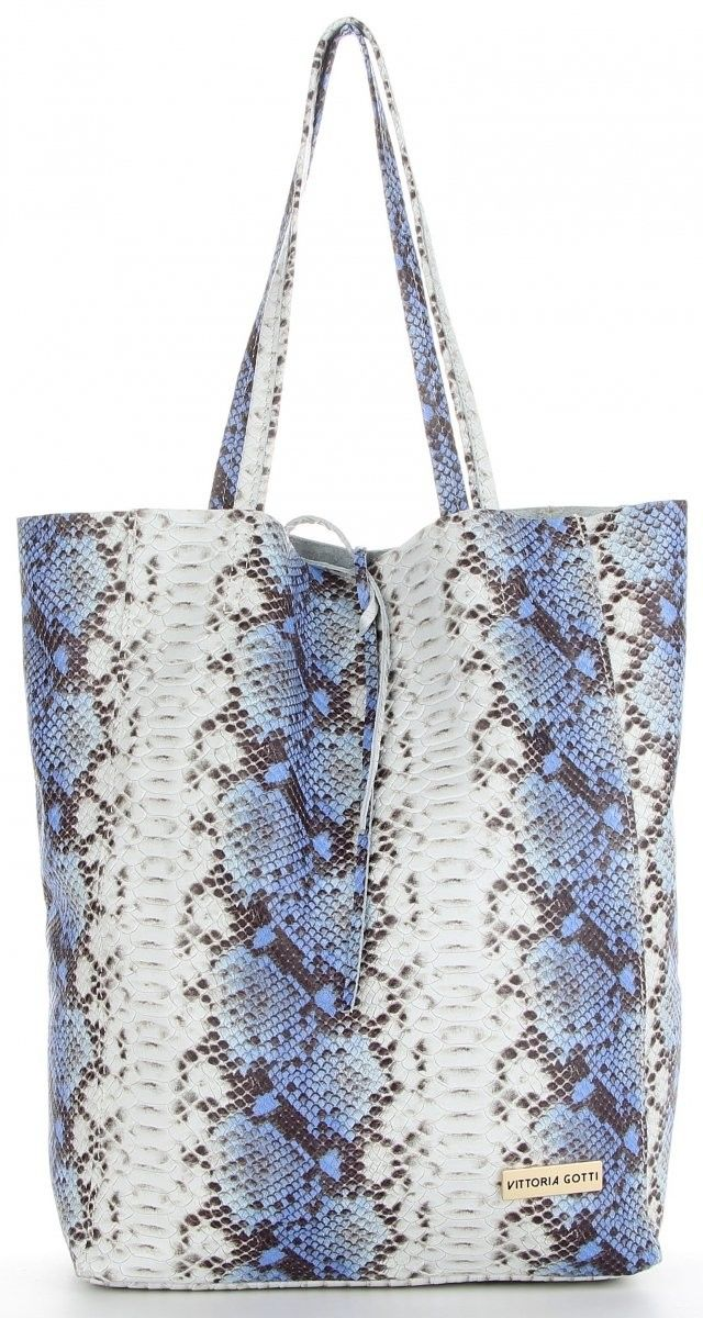 Vittoria Gotti Made in Italy Firmowy Shopper XL Modne Torby Skórzane z motywem węża Niebieska (kolory)