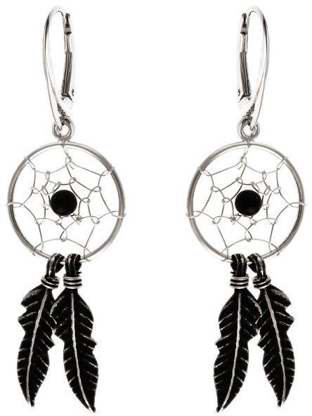 Delikatne wiszące oksydowane srebrne kolczyki łapacz snów dreamcatcher onyks onyx srebro 925 K2945