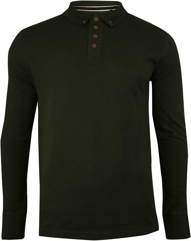 Koszulka Polo Zielona, Khaki, Długi Rękaw, Longsleeve z Kołnierzykiem - Brave Soul, Męski, Oliwka TSBRSAW20LINCOLNkhaki