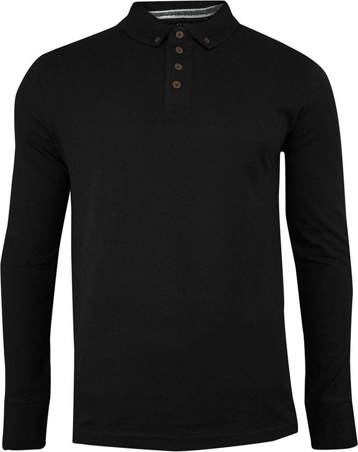 Koszulka Polo Czarna, Długi Rękaw, Longsleeve z Kołnierzykiem - Brave Soul, Męski TSBRSAW20LINCOLNblack