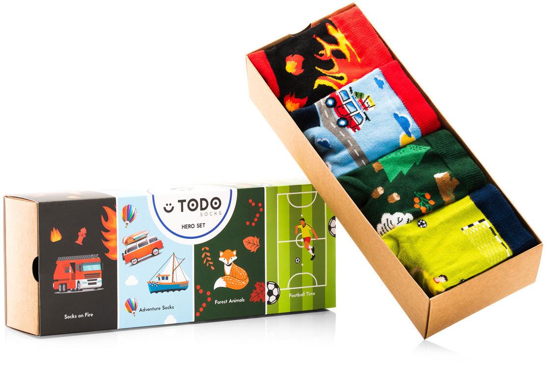 Zestaw dziecięcych skarpet HERO SET - Strażak, Podróż, Forest, Football - 4 pary