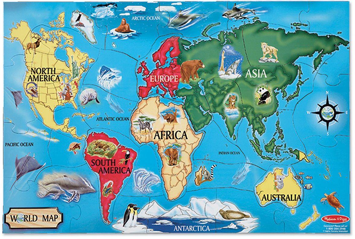 Melissa & Doug 10446 Doug mapa świata puzzle podłogowe