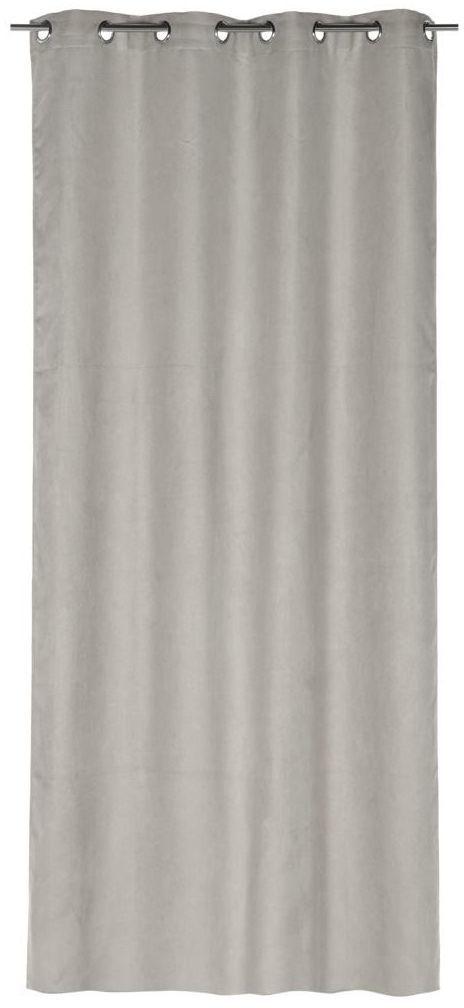 Zasłona SUEDE szara 140 x 260 cm na przelotkach INSPIRE