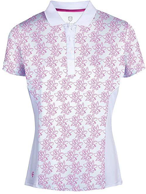 Island Green Damska frezja kwiatowy nadruk odprowadzająca powietrze koszulka polo z krótkim rękawem top koszulka golfowa Biały/gorący różowy L