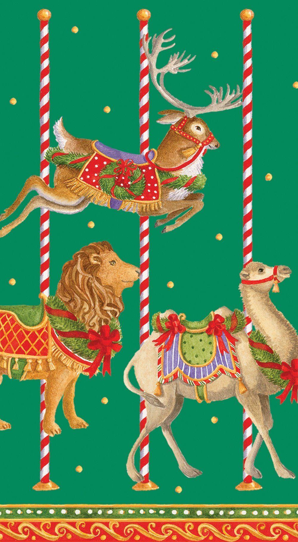 Caspari Entertaining Merry Go okrągłe papierowe ręczniki dla gości, opakowanie 15 sztuk, zielone, 11 x 3 x 20 cm