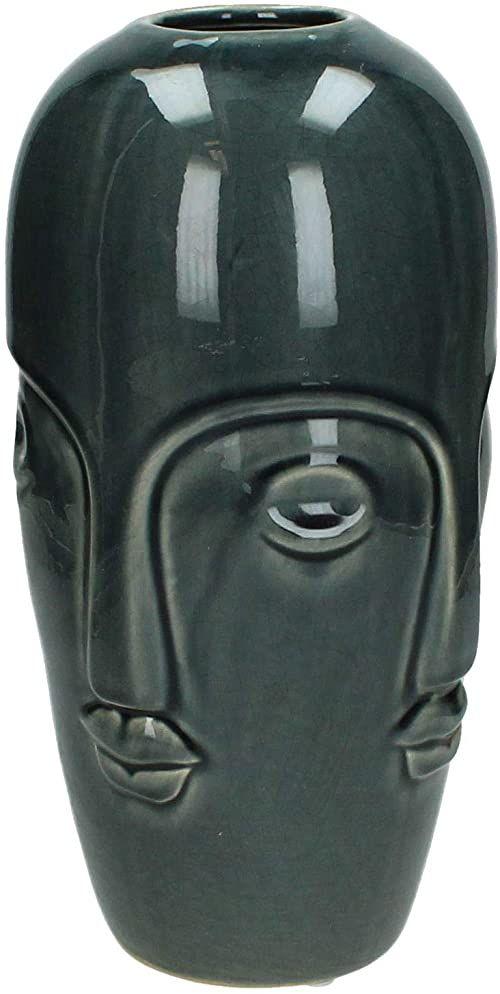Wazon - ceramika - szary - 14x14x28cm