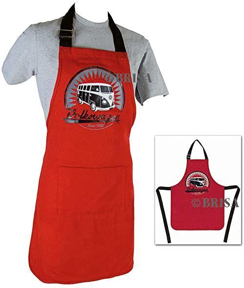 BRISA Fartuch kucharski, czerwony/czarny, rozmiar uniwersalny