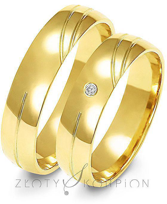 Obrączki ślubne Złoty Skorpion  wzór Au-A141