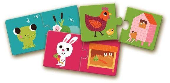 Zwierzaki i ich domki - puzzle dla dzieci, DJ08164-Djeco - zabawka dla dwulatka, zabawki z tektury