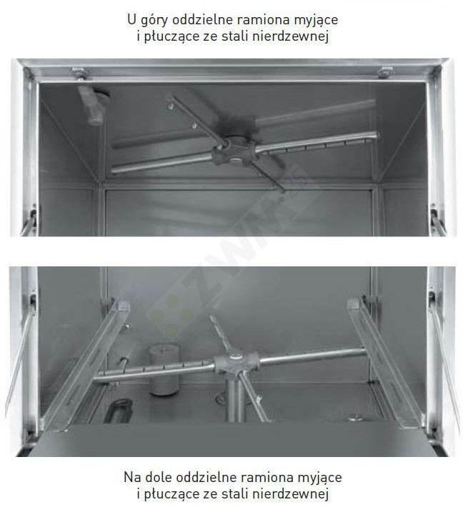 Zmywarka do szkła 40x40 z dozownikiem detergentu i pompą spustową - sterowanie elektromechaniczne HENDI 233023 233023