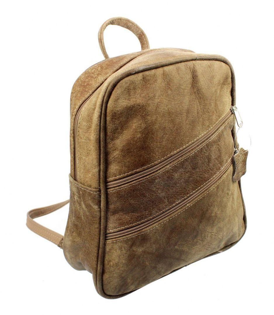 Praktyczny Plecak Skórzany MAGRE (PL) IRKA Skóra Naturalna Licowa SUROWA SKÓRA BRĄZOWY